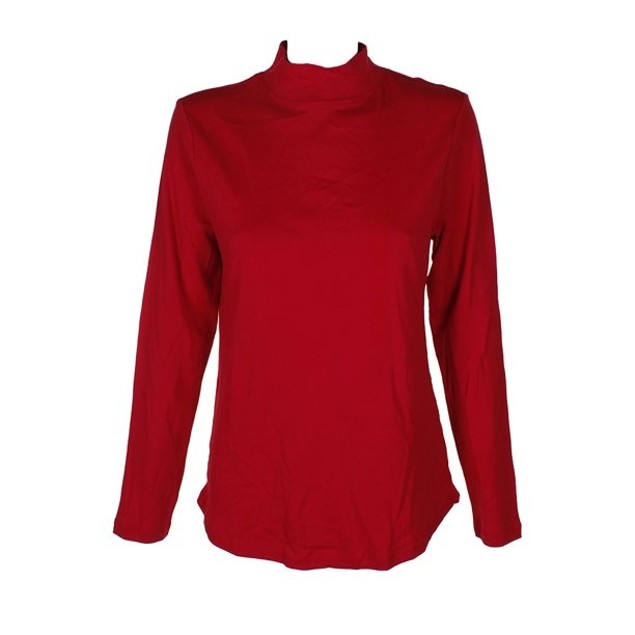 Charter Club Women's Cotton Mock-Neck Top Medium Red Size X-Large