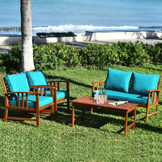 Costway 8PCS Wooden Patio Furniture Set Table Sofa Chair Cushioned Garden T