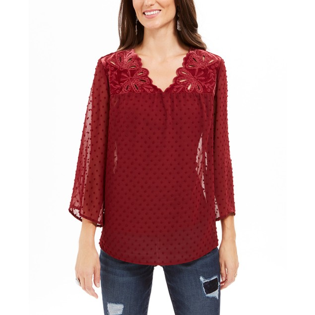 Style & Co Women's Mixed-Media Sheer-Sleeve Blouse Red Size Small