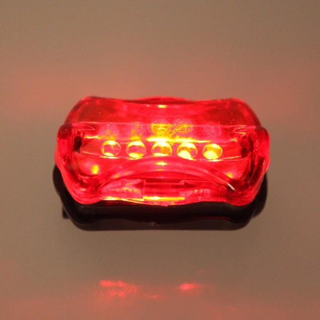 5 LED Lamp Bike Front Head Light + Rear Safety Flashlight