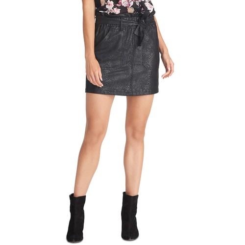 Rachel Roy Women's Keni Snake-Embossed Pull-On Skirt Black Size Large