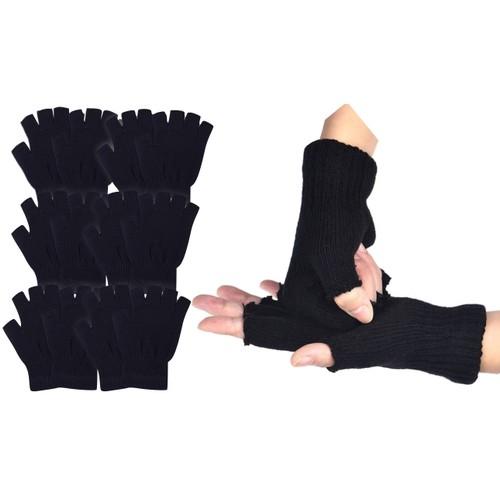 (6 Pack) ToBeInStyle Men's Warm Fingerless Black Winter Gloves