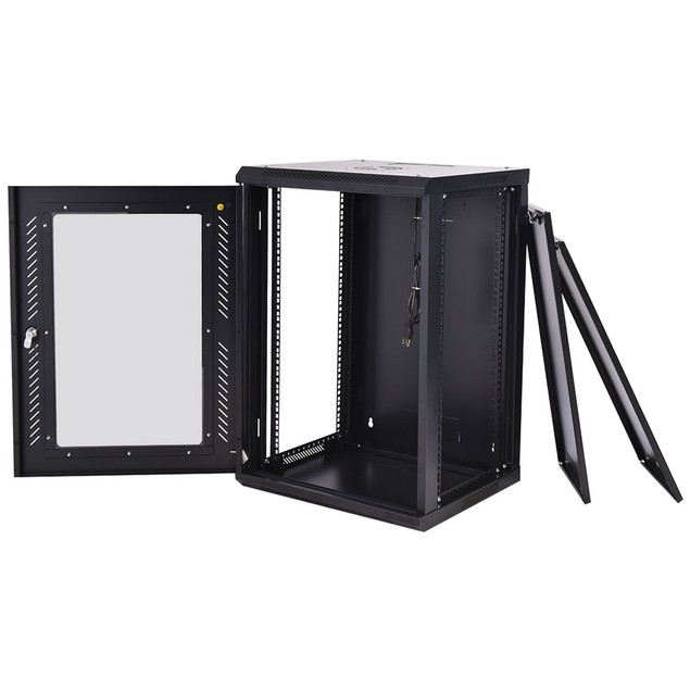 Costway 18U Wall Mount Network Server Data Cabinet Enclosure Rack Glass Doo
