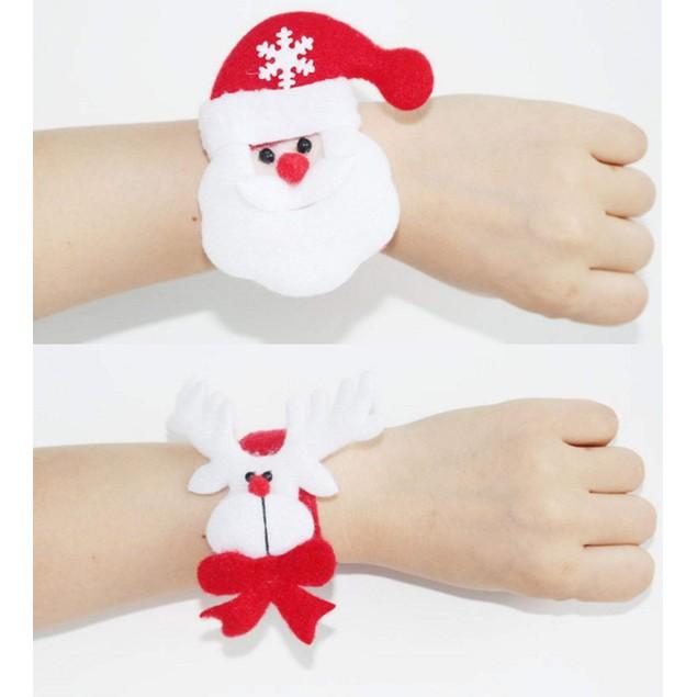 Set of 12 Christmas Slap Bracelets Santa Claus Snowman Reindeer Wristband
