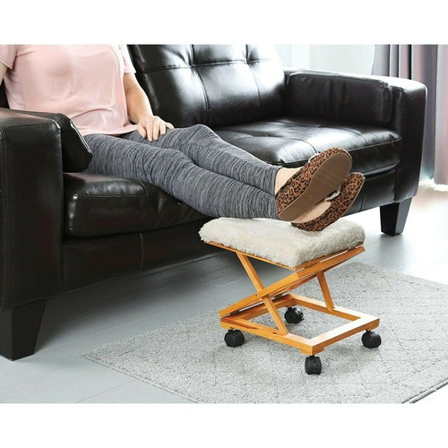 Adjustable Wooden Foot Stool Sherpa Tapestry Foot Rest