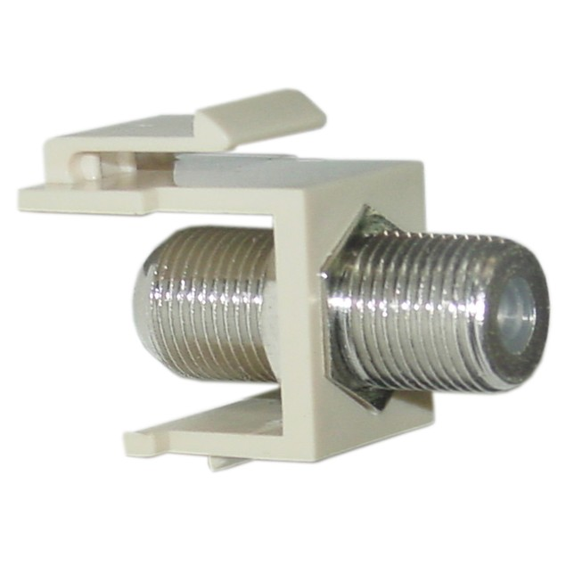 Keystone Insert, Beige, F-pin Coaxial Connector, F-pin Female Coupler