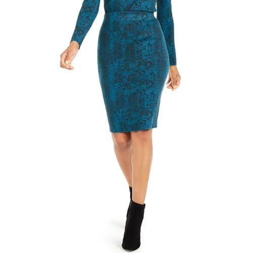 Thalia Sodi Women's Jacquard Sweater Skirt  Blue Size 2 Extra Large