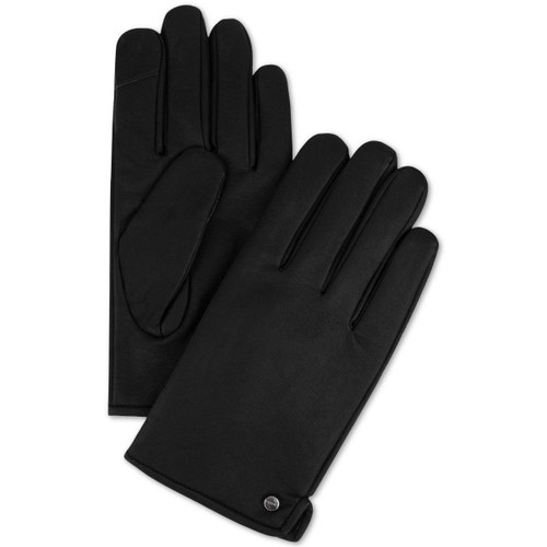 Calvin Klein Men's Faux-Leather Gloves Black Size Medium