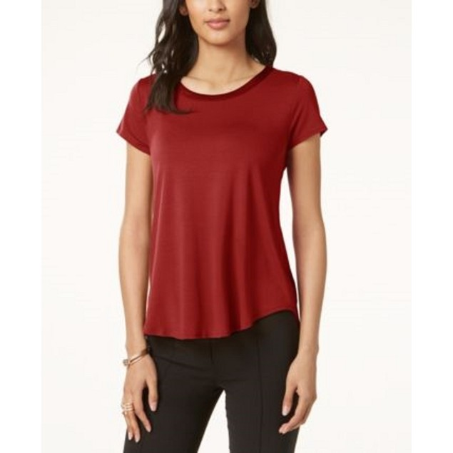 Alfani Women's Petite Satin-Trim High-Low T-Shirt Dark Red Size 44