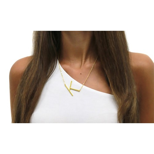 18K Plated Sideway Initial Necklaces