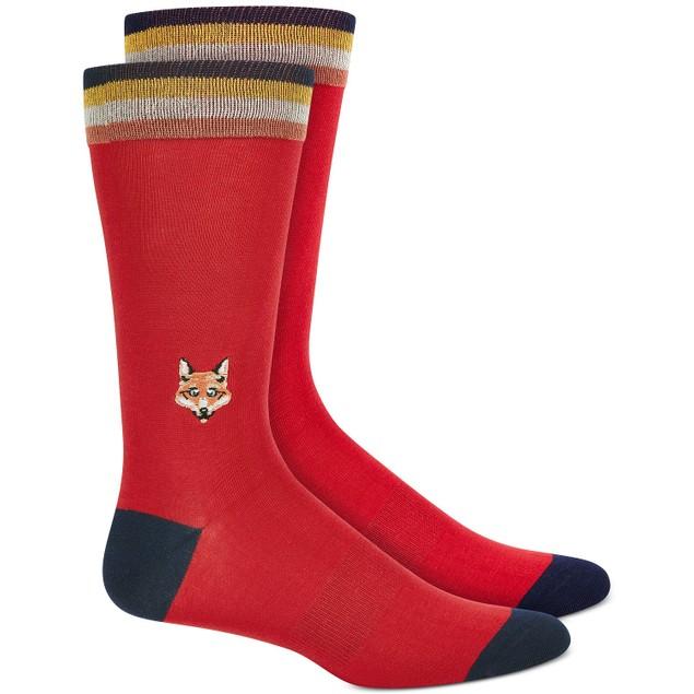 Bar III Men's Embroidered Fox Socks Red Size Regular