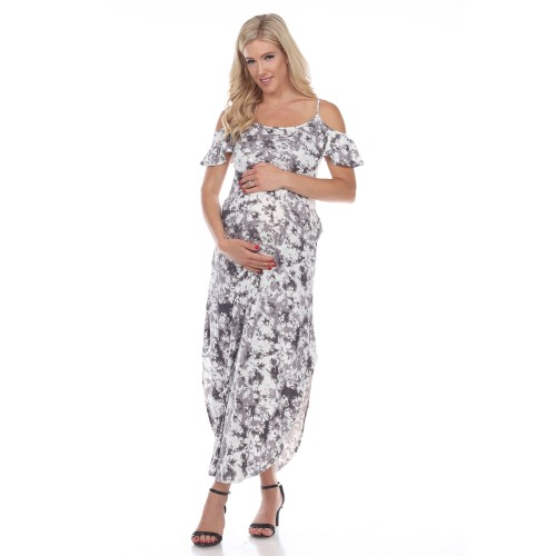 Maternity Cold Shoulder Tie-Dye Maxi Dress - 3 Colors - Extended Sizes