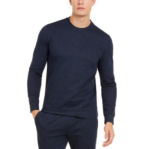 Alfani Men's Classic-Fit Stretch Stripe Knit Sweatshirt  Navy Size Medium