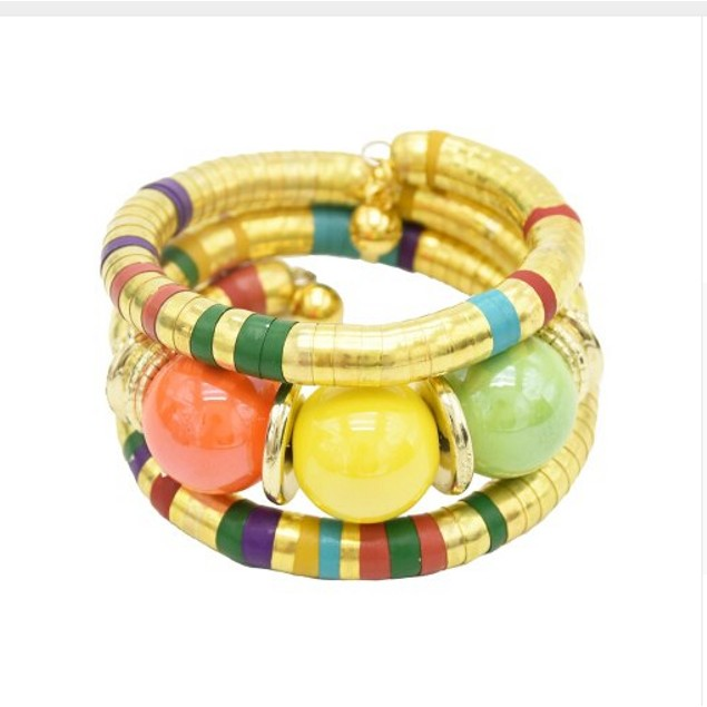Fashion Colorful Resin Beads Statement Bangles & Bracelets for Women