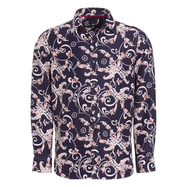 Rosso Milano Modern Fit Long Sleeve Lavender Floral Dress Shirt