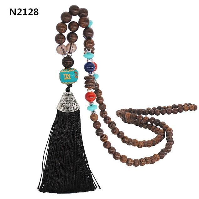 Retro Ethnic Style Women Handmade Beaded Tassel Sweater Chain