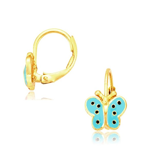 18K Gold Plated Enameled Butterfly Leverbacks- 4 Colors
