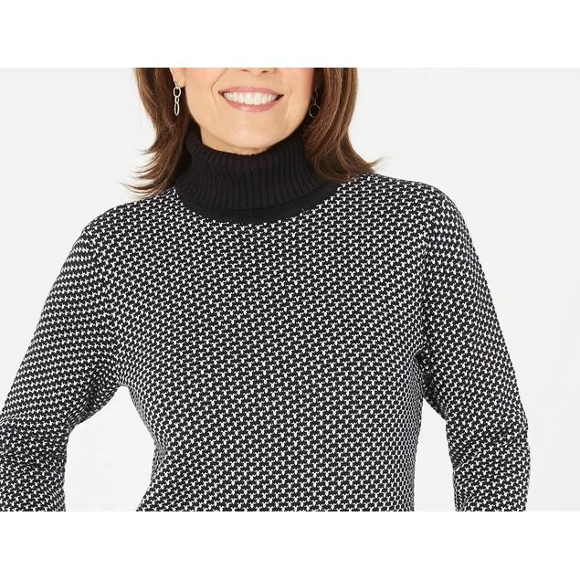 Karen Scott Women's Cotton Turtleneck Sweater Black Size X-Large