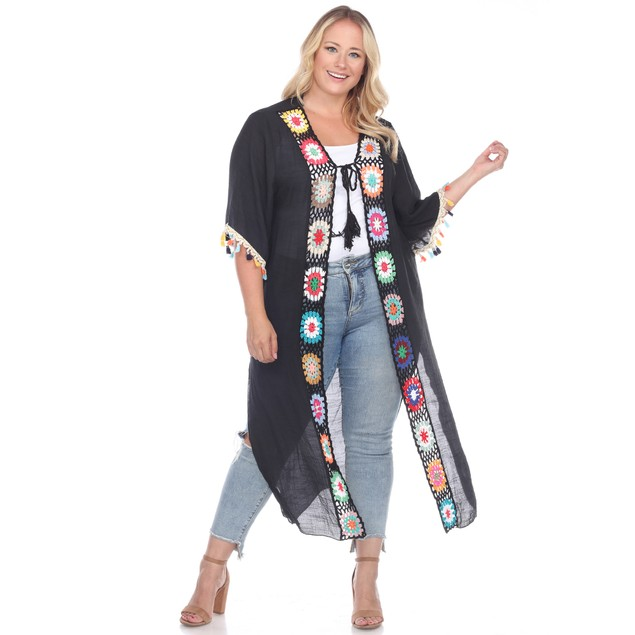 Crochet Kimono Cover-Up - 2 Colors - Missy and Plus Sizes