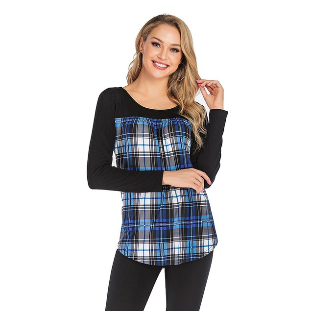 Lilly Posh Long Sleeve Round Neck Plaid Shirt