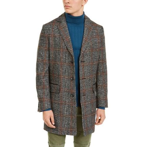 INC International Concepts Men's Logan Plaid Topcoat Gray Size Medium