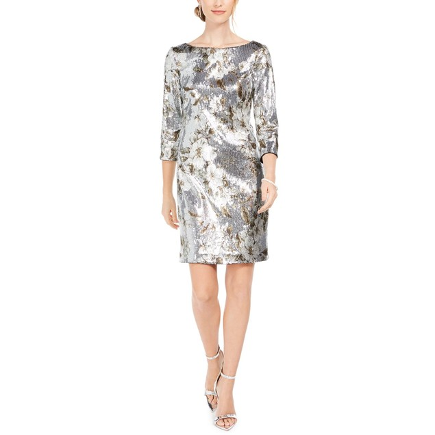 Vince Camuto Women's Sequined Bodycon Dress Silver Size 14