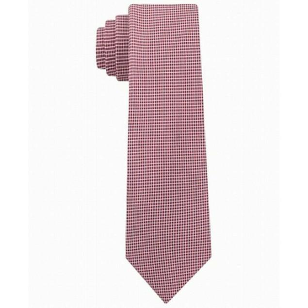 Calvin Klein Men's Micro Squares Skinny Silk Tie Red Size Regular