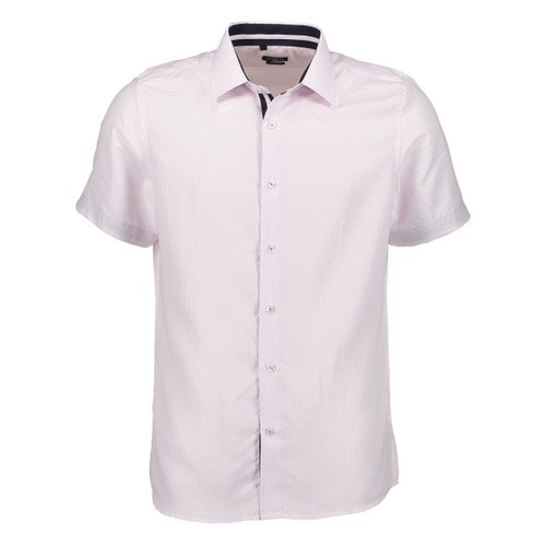 Rosso Milano Modern Fit Short Sleeve White Purple Houndstooth Dress Shirt
