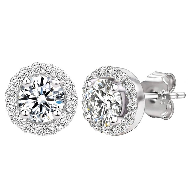 Sterling Silver Cubic Zirconia Halo Studs