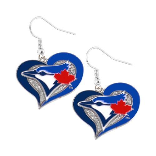 Toronto Blue Jays Swirl Heart Dangle Earring Set MLB Charm Gift