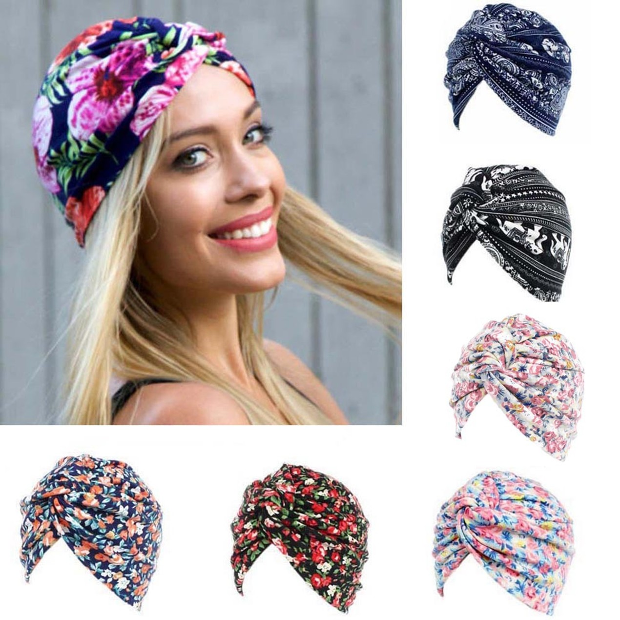 1e8559f90c5 Women Floral Cancer Chemo Hat Beanie Scarf Turban Head Wrap Cap E ...