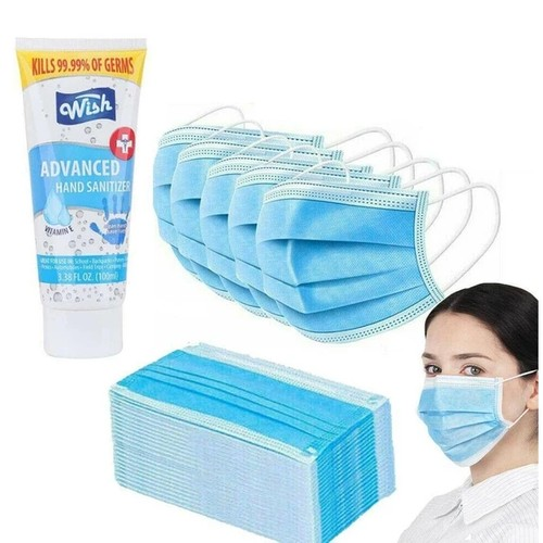 50-Pack 3ply Disposable Mask + 2 Pack Wish 3.38 oz Sanitizer Bundle