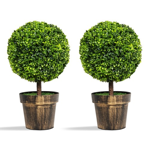 """2PCS 22"""" Round Artificial Boxwood Topiary Tree Home Office Outdoor Decorati"""