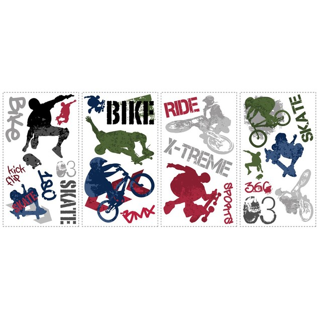 Roommates Nursery Baby Room Wall Decorative Extreme Sports Wall Decals