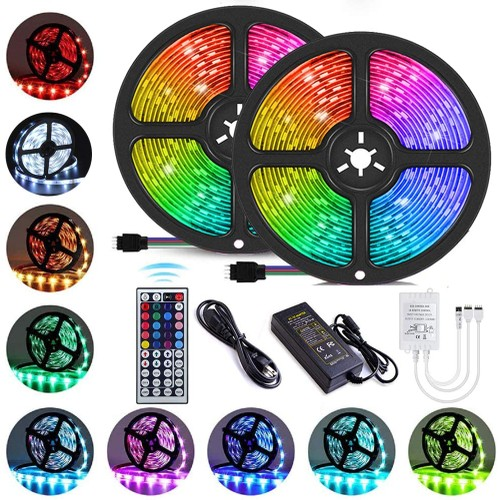 LED Strip Lights 32.8 feet with 44 Keys IR Remote Controller and 12V Power Supply for Bedroom, Kitchen