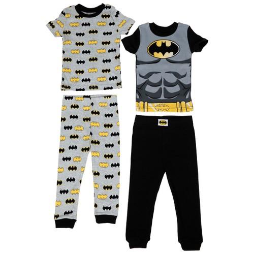 Batman Armor and All Over Logos Print 4-Piece Pajama Set