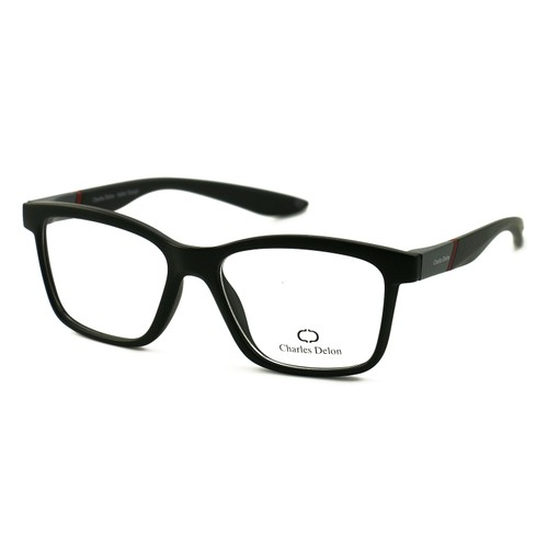 Charles Delon Men's Eyeglasses 7112C C6 Matte Black/Grey/Red 53 18 145 Plastic