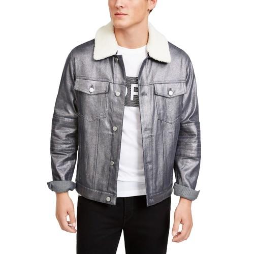 Michael Kors Men's Metallic Moto Trucker Jacket  Silver Size Medium