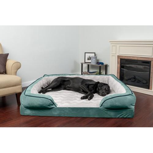 FurHaven Perfect Comfort Velvet Waves Cooling Gel Sofa Pet Bed