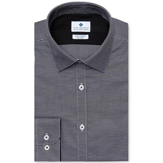 Ryan Seacrest Distinction Men's Ultimate Dress Shirt Black Size 15X5X32X33