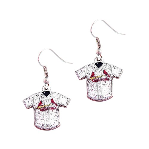 MLB St. Louis Cardinals Glitter Jersey Dangle Earring Set Charm Gift