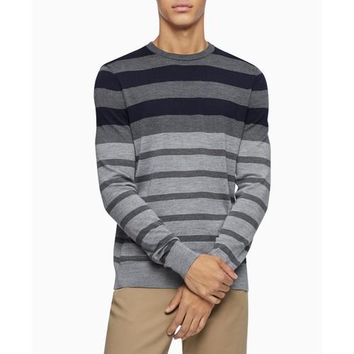 Calvin Klein Men's Colorblock Striped Sweater Gray Size Large