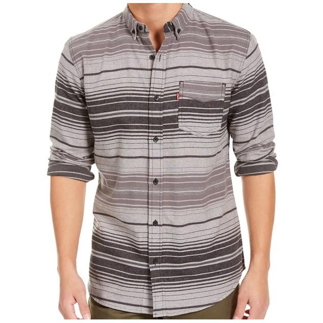 Levi's Men's Avalon Striped Flannel Shirt Gray Size Small