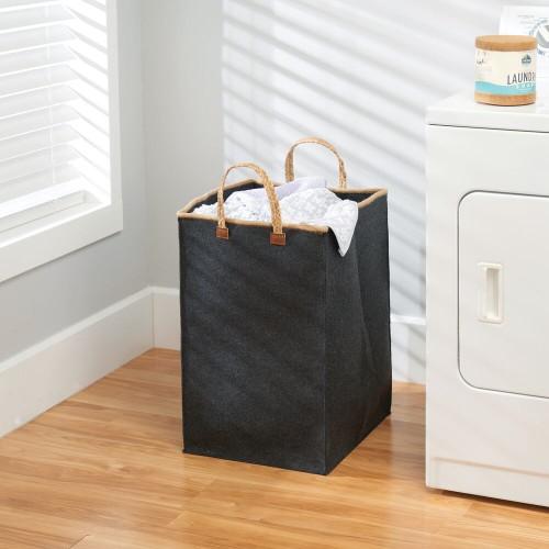 mDesign Felt Laundry Foldable Hamper Basket with Braided Handles