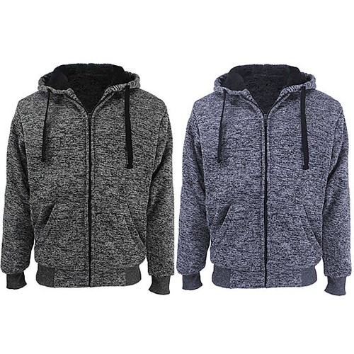 2-Pack: Men's Marled Extra-Thick Sherpa-Lined Fleece Hoodies