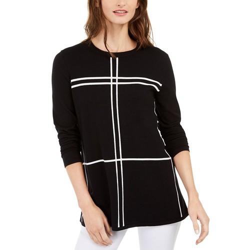 Alfani Women's Grid-Pattern Sweater Deep Black Size 2 Extra Large