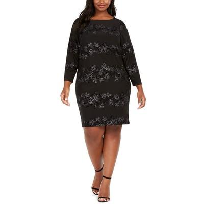 Jessica Howard Women's Plus Size Sparkle Floral Dress Black Size 24