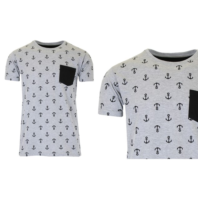Men's Slim Fitting Short Sleeve Printed Tee With Chest Pocket