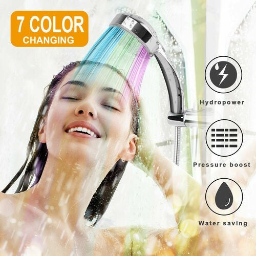 Colorful Shower Head Home Bathroom 7 LED Colors Changing Water Glow Light