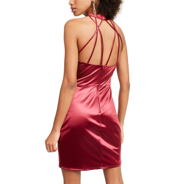 Crystal Doll Junior's Strappy Satin Halter Dress Wine Size 5